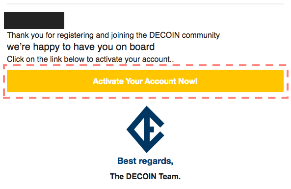 DECOIN運営側からの確認メール