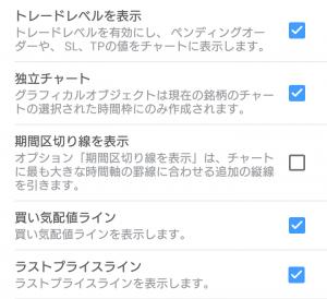 Android版MT5のチャート設定画面2