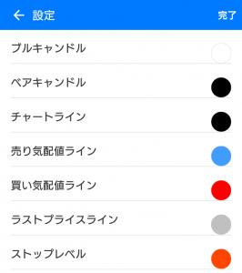Android版MT5のチャート色設定画面2