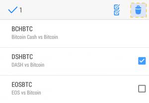Android版MT5の通貨ペア削除画面