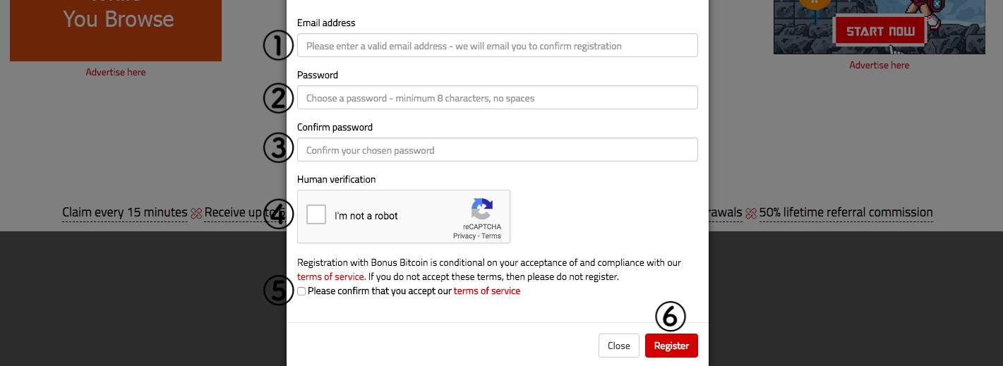 bonusbitcoinの登録画面
